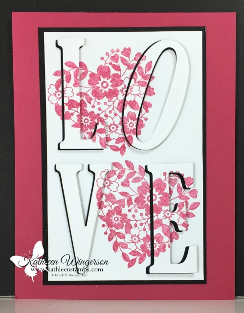 Eclipse Technique showcasing Bloomin' Love stamp set and Large Letters Framelits from Stampin' Up! by Kathleen Wingerson www.kathleenstamps.com  #bloominlove #stampinup #kathleenstamps #kathleenwingerson #eclipse technique #largeletterframelits
