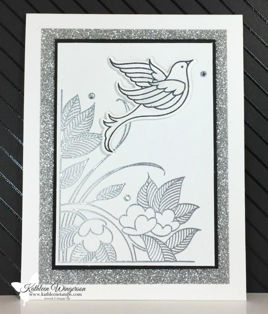 Elegant Wedding Card showcasing the Serene Garden stamp set and Garden Scene thinlits from Stampin' Up! by Kathleen Wingerson  www.kathleenstamps.com #kathleenwingerson #stampinup #serenegarden #gardenscene #kathleenstamps #weddingcard